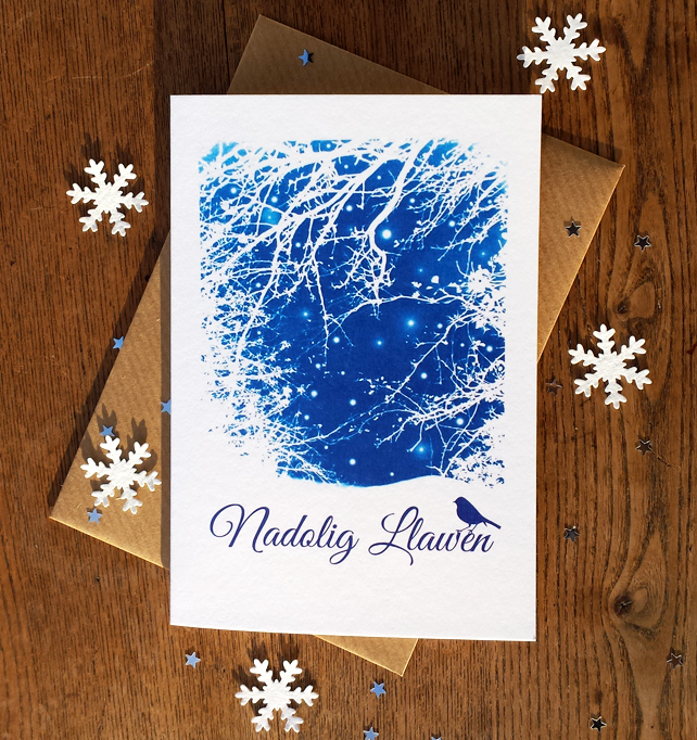 SALE - Nadolig Llawen Welsh Christmas card from Cyanotype image