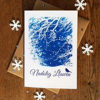 Nadolig Llawen Welsh Christmas card from Cyanotype image