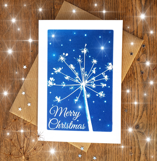 SALE - Merry Christmas Cow Parsley Cyanotype Card