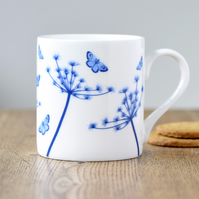 Fine bone china blue & white Cow Parsley & butterflies mug