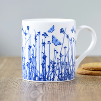 Fine bone china blue butterfly meadow mug