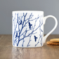 Fine bone china flock of birds & branches blue and white mug