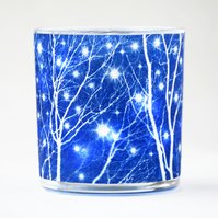 Starry Winter's Night Cyanotype Candle Holder