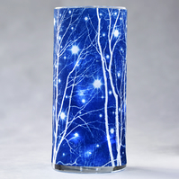 Starry Winter's Night Large Cyanotype Cylinder Vase