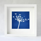 Seed head Cyanotype, blue and white image in large square white box frame