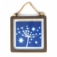 Starry Seed Head Cyanotype in industrial style metal and glass square frame