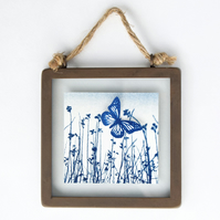 Butterfly Meadow Cyanotype in industrial style metal and glass square frame
