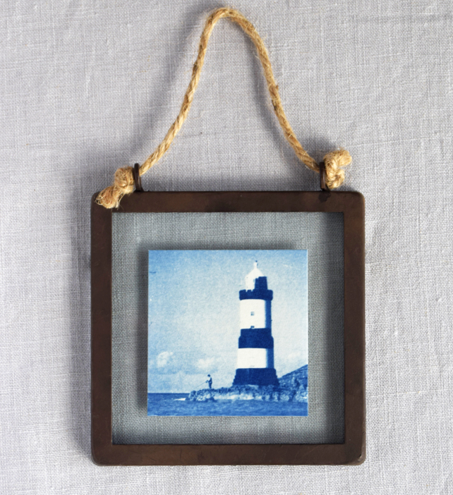 Lighthouse Cyanotype in industrial style metal and glass square frame