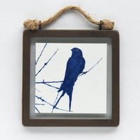 Swallow Cyanotype in industrial style metal and glass square frame