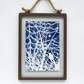Bird in Winter branches Cyanotype in industrial style metal & glass frame
