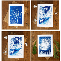 SALE Pack of 4 Christmas cards from Cyanotype images