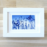 Small Butterfly Meadow Flutter, Original Cyanotype