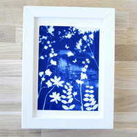 Framed 'Reverie' Original Nature inspired Blue and White Cyanotype