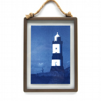 Large Lighthouse Cyanotype in industrial style metal and glass square frame