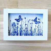 Small Butterfly Meadow Flutter, Original Cyanotype, Blue and white