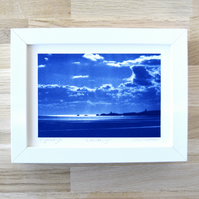Framed Cyanotype Llanddwyn silhouette, Anglesey Welsh Seascape Blue and White