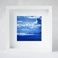 Llanddwyn Island Cyanotype, blue and white image in large square white box frame