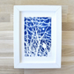 Framed Bird in twinkling branch Cyanotype Blue and White