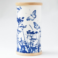 Butterflies, Cow Parsley and Grasses Cyanotype Candle Cover