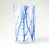 Branch Cyanotype Blue and White Medium Cylinder Vase