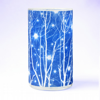 Starry Winter's Night Medium Cyanotype Cylinder Vase
