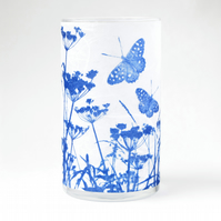 Butterflies, Cow Parsley and Grasses Cyanotype Medium Cylinder Vase