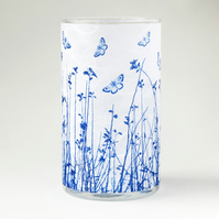 Blue Butterfly Meadow Medium Blue and White Cylinder Vase