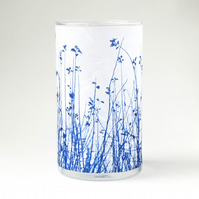 Blue Meadow Medium Blue and White Cylinder Vase