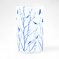 Flock of birds Cyanotype blue and white cylinder vase