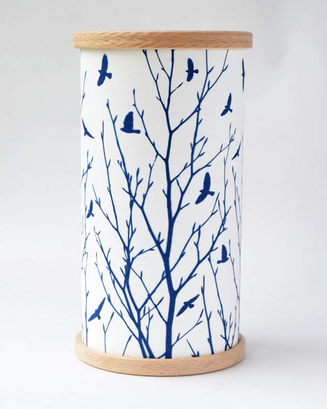 Flock of birds and branches Cyanotype Lantern