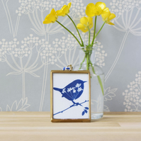 Cyanotype Wren in gold edged hanging frame