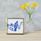 Blackbird and Cow Parsley Blue and White Cyanotype Art in Gold Edged Glass Frame