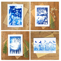Pack of 4 card designs from Cyanotype images
