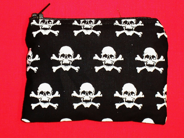 Handmade Cotton Coin Purse - Black With White Skulls - Gothic Pirate Crossbones