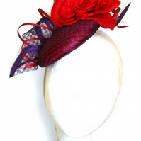 Red Purple Cocktail hat, Fascinator, Red Hat, Purple hat, Wedding hat, Ascot hat