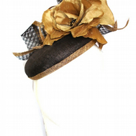 Fascinator, Headpiece in Chocolate & Gold, Sinamay Hat