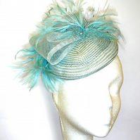 Fascinator, Pale Blue Fascinator Hat, Wedding Hat, Pillbox Hat