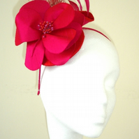 Fuschia Pink and Red Fascinator, Headpiece, Hair Accessory