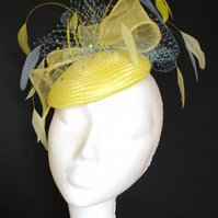 Lemon and pale blue cocktail hat, fascinator, pillbox hat, wedding hat, veiling