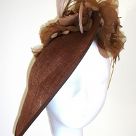 Chocolate Brown hat, Hatinator, Fascinator, Disc style hat, Saucer hat,