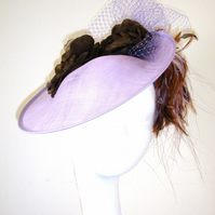 Lilac hat, Fascinator, Hatinator, Disc style hat, Silk flowers and feathers
