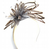 Fascinator, Headpiece, Taupe Sinamay Feathers,