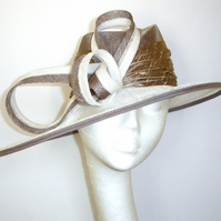 White Fedora Hat, Sinamay Hat, White and Taupe Hat, Trilby style hat, Ladies hat