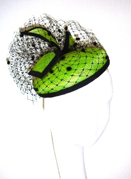 26bc2f605 Lime Green Black Pillbox Hat, Cocktail hat, Fas... - Folksy
