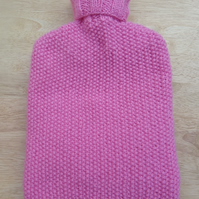 Hot water bottle cover - hand knitted - pink