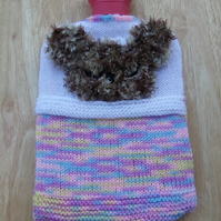 Hot water bottle cover - hand knitted - teddy - pinks