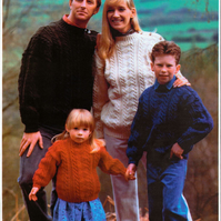 KNITTING PATTERN WENDY 3937 5ply FAMILY SWEATER JUMPER