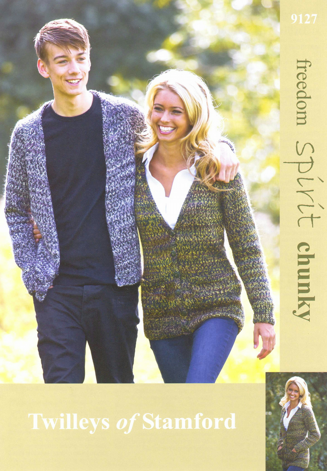 KNITTING PATTERN TWILLEYS OF STAMFORD 9127 V NECK CARDIGAN