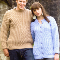 KNITTING PATTERN WENDY 5522 CHUNKY JACKET AND SWEATER JUMPER