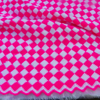 Hand crochet entrelac baby blanket hot pink and white